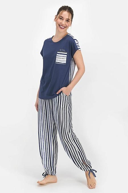 Pierre Cardin Koyu İndigo Marine Kadın Kısa Kol Pijama Takımı