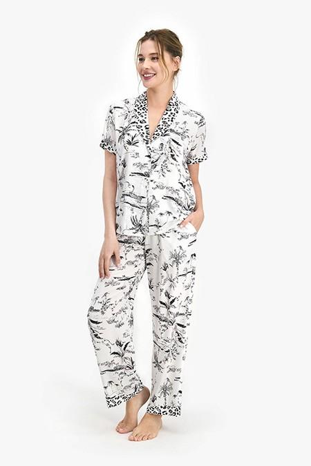 Pierre Cardin Krem Leopard Kadın Gömlek Pijama