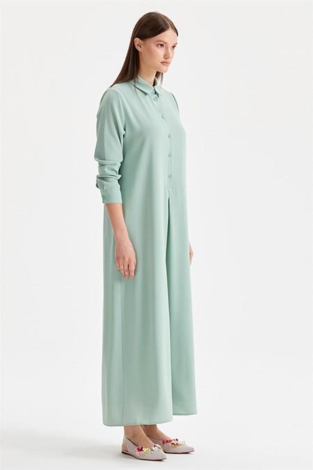 Tığ Triko Mint Düğme Detaylı Gömlek Elbise