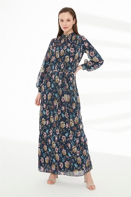 Zühre Lacivert Plise Detaylı Elbise