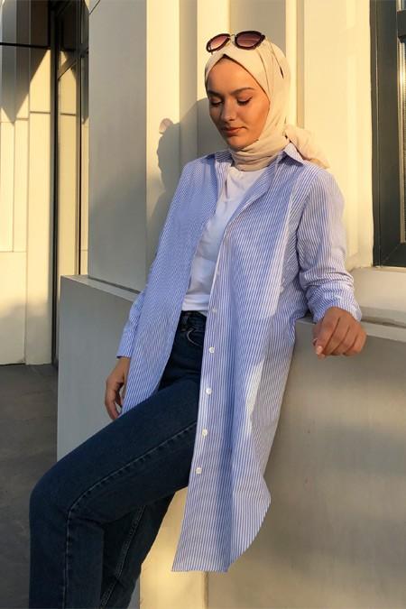 Normcore Mavi Çizgili Doğal Kumaşlı Ligne Gömlek Tunik