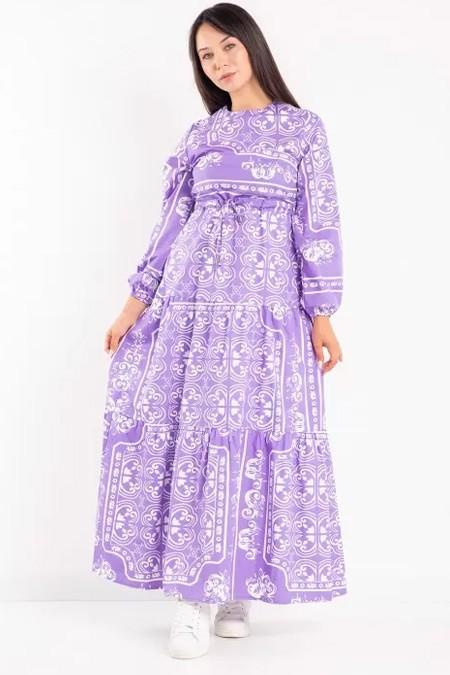Melike Tatar Lila Desenli Elbise