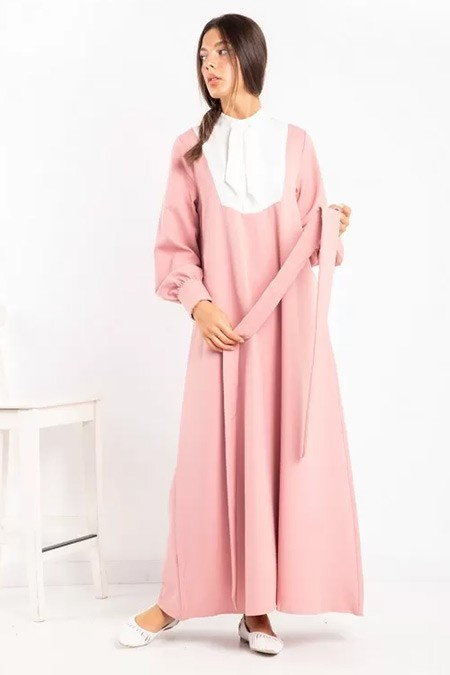 Melike Tatar Pudra Yaka Bağlamalı Elbise