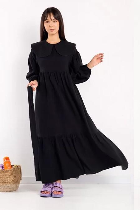 Melike Tatar Siyah Bebe Yaka Pamuk Kumaş Elbise