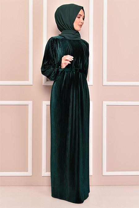 Modamerve Zümrüt Piliseli Kadife Elbise