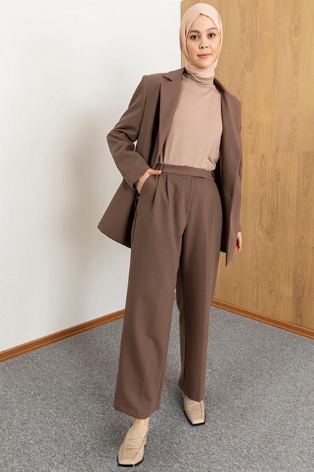 SAHRA AFRA Camel Ceket&Pantolon İkili Takım
