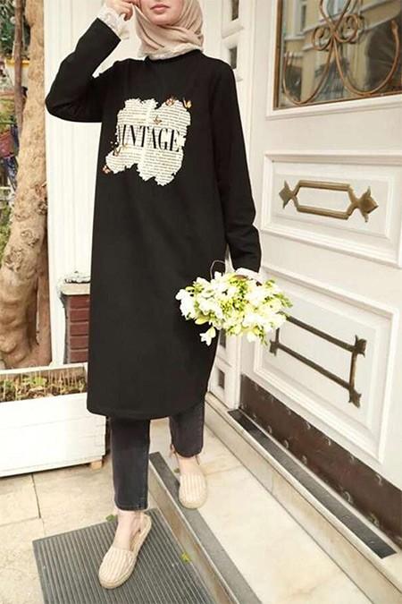 Esra Keküllüoğlu Siyah Vintage Pamuk Tunik