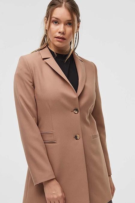 Kayra Camel Kemik Düğme Detaylı Blazer Ceket