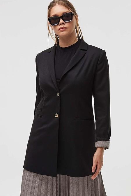 Kayra Siyah Kemik Düğme Detaylı Blazer Ceket