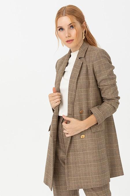 Seçil Camel Kare Desenli Blazer Ceket
