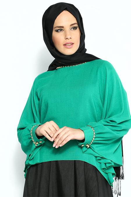Meryem Acar Yeşil Metal Süslemeli Bluz