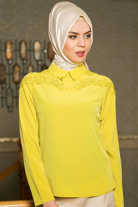 Puane F.Yeşili Güpürlü Bluz