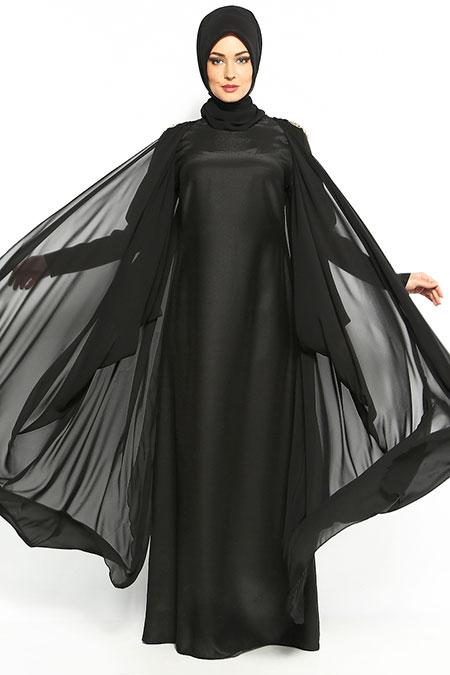 Ayşen Özen Siyah Şifonlu Abiye Elbise