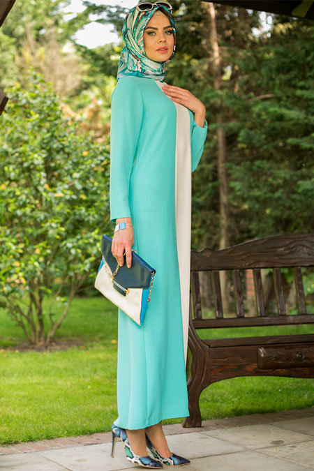 Mimya Aqua Çift Renkli Elbise