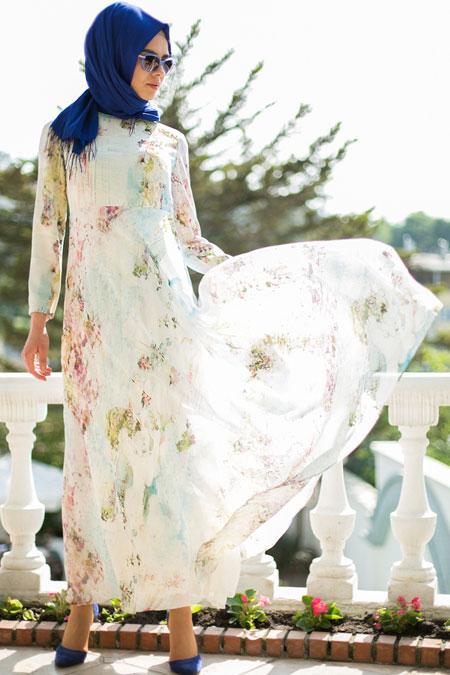 Mimya Bahar Desen Desenli Kloş Elbise