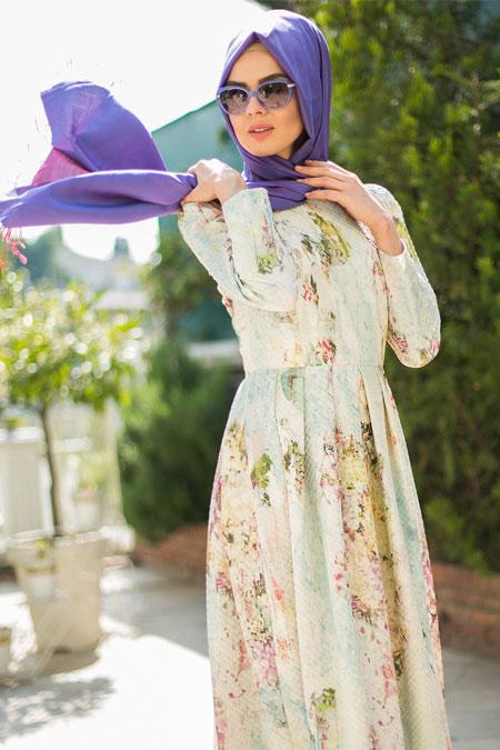 Mimya Bahar Desen Pileli Elbise