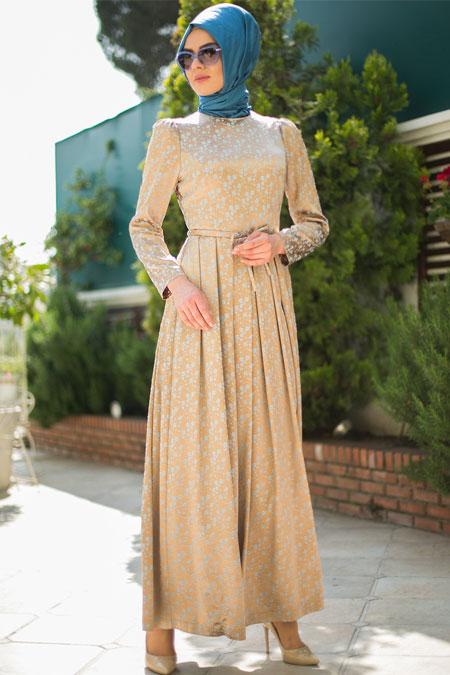 Mimya Gold Pileli Elbise