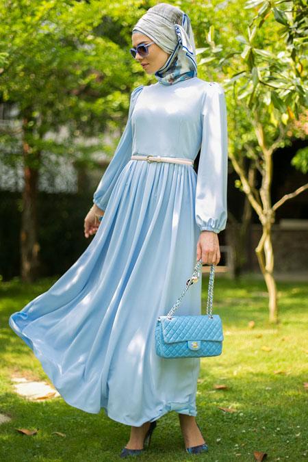 Mimya Mavi Kemerli Elbise