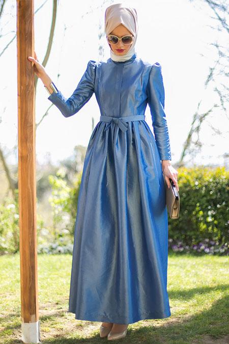 Mimya Mavi Pileli Elbise