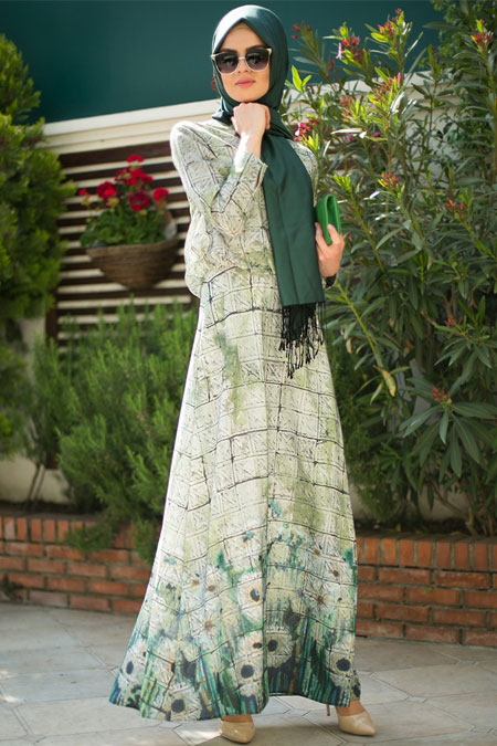 Mimya Mozaik Desen Desenli Elbise