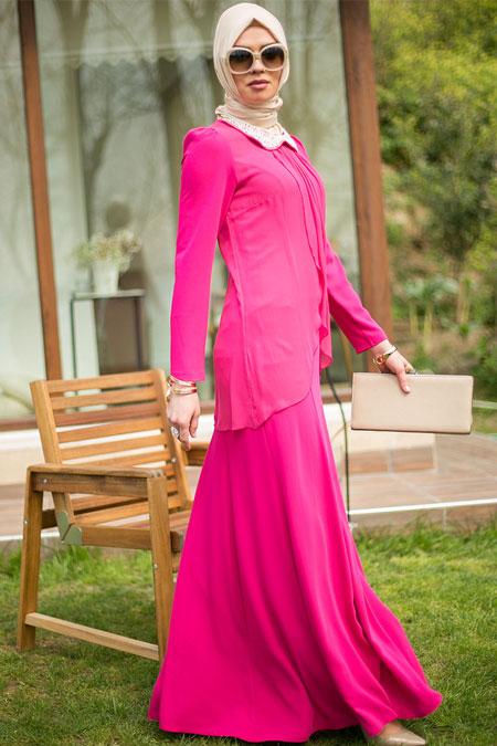 Puane Fuşya Yakası Boncuk İşlemeli Elbise