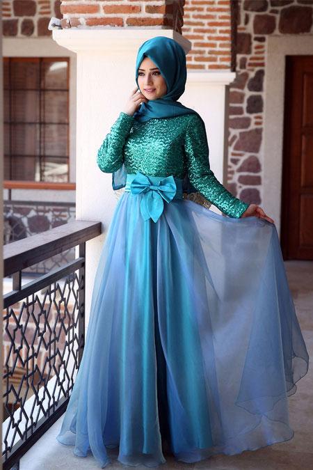 Zehrace Turkuaz Payetli Abiye Elbise