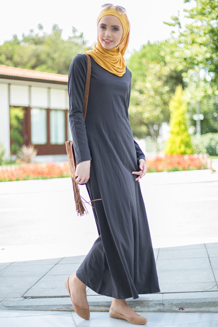 Benin Antrasit Düz Uzun Elbise