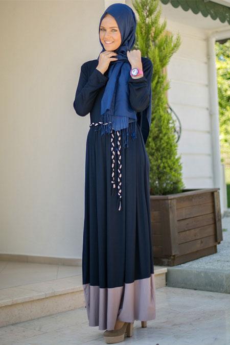 Benin Lacivert Vizon Basic Uzun Elbise