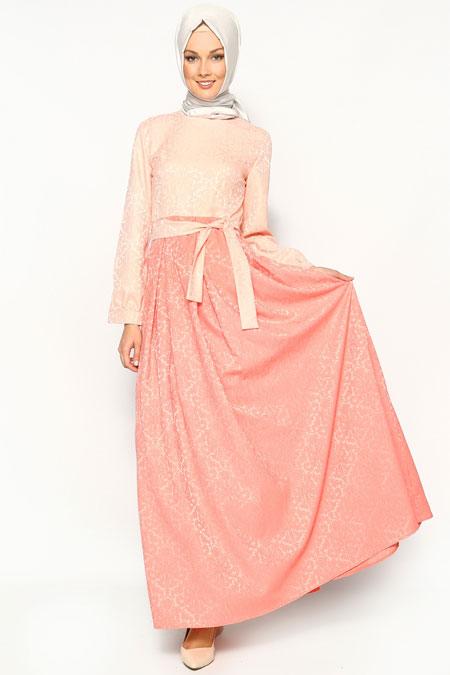 Gönül Kolat Somon Brokar Elbise