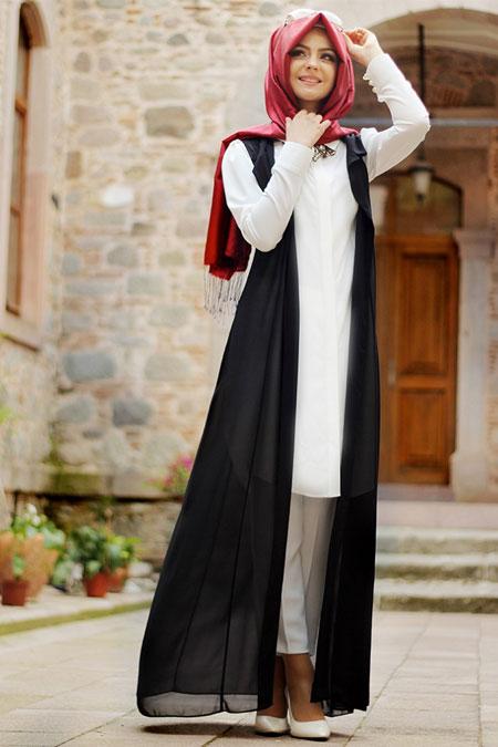 Pınar Şems Siyah Tül Yelekli 2`li Takım