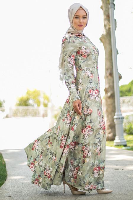 Puane Yeşil Çiçekli Elbise