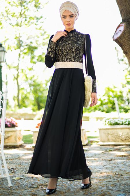 Puane Kemerli Taşlı Siyah Abiye Elbise