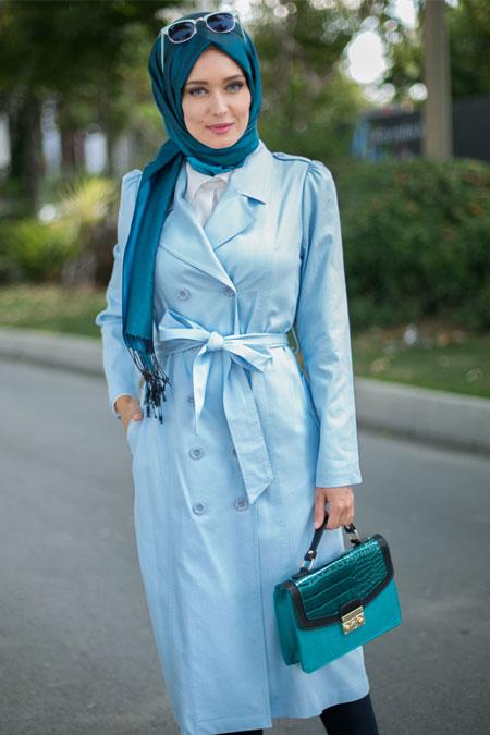 Puane Mavi Düğmeli Trençkot