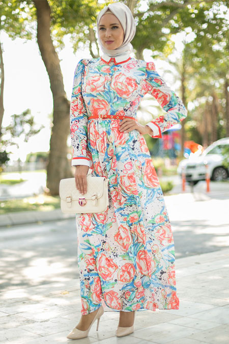Puane Oranj Desenli Elbise