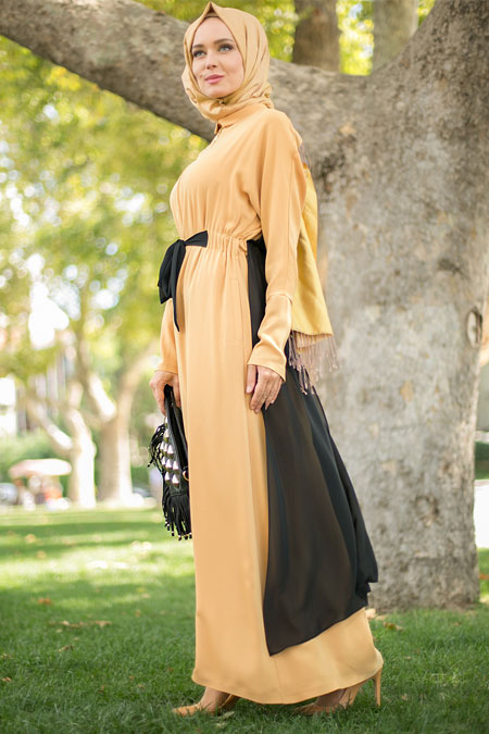 Puane Safran Cepli Elbise