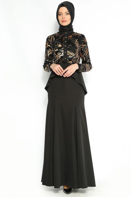 Avenna Siyah Payetli Abiye Takım Elbise
