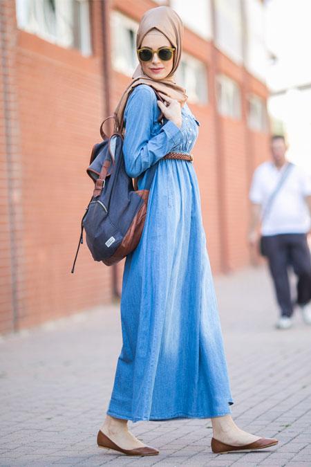 Benin Mavi Kemerli Kot Elbise