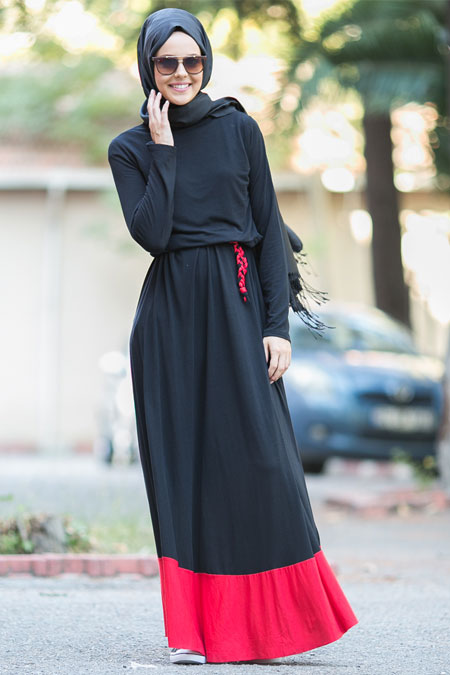 Benin Siyah Kırmızı Basic Uzun Elbise