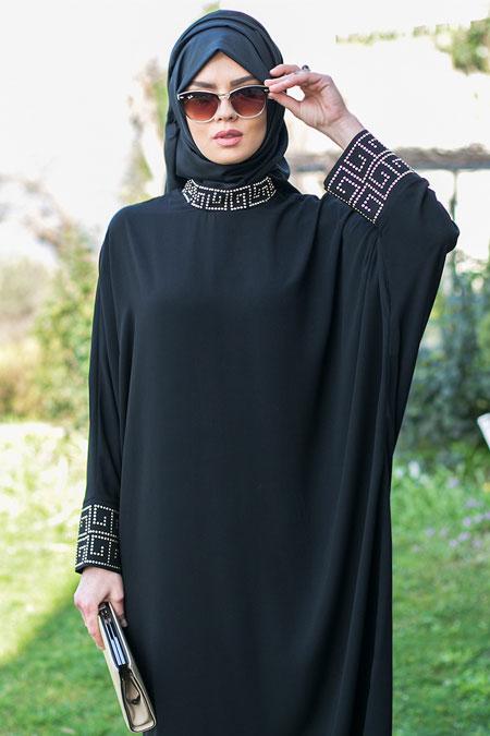 Güzel Moda Siyah Taşlı Tunik Ferace