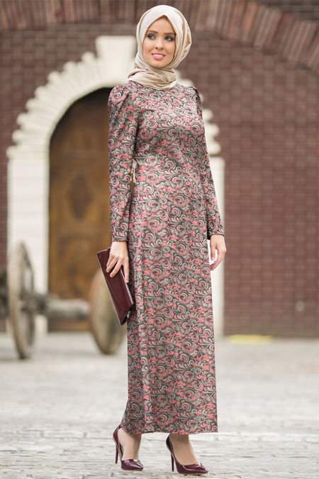 Luvice Bordo Jakarlı Elbise