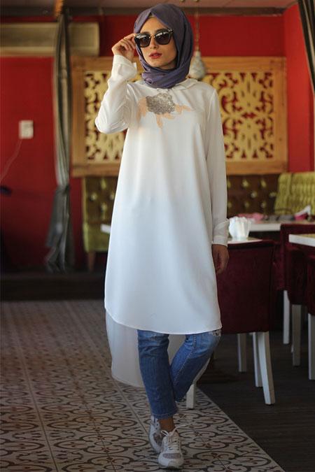 Nurbanu Kural Beyaz Gülru Tunik