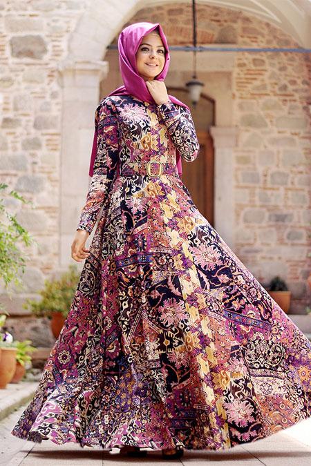 Pınar Şems Mor Kilim Desen Elbise
