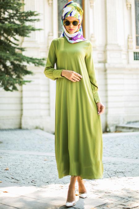 Refka Yeşil Elma Basic Elbise