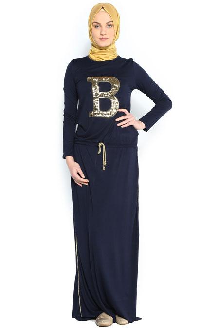 Benin Style Lacivert Pul İşlemeli Elbise