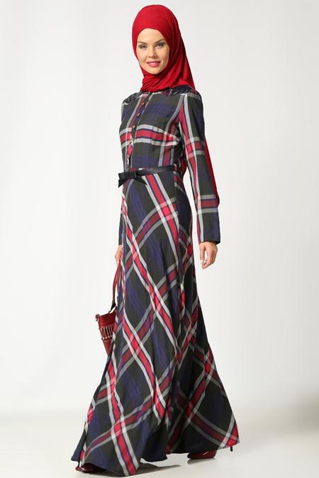 Etrucci Lacivert Bordo Kemerli Elbise