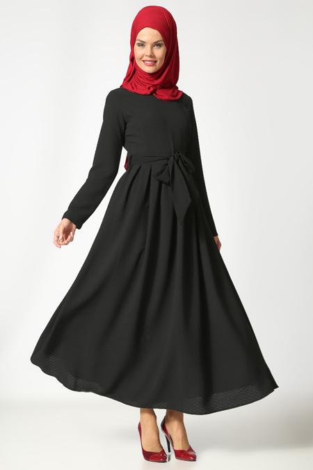 Etrucci Siyah Kemerli Elbise
