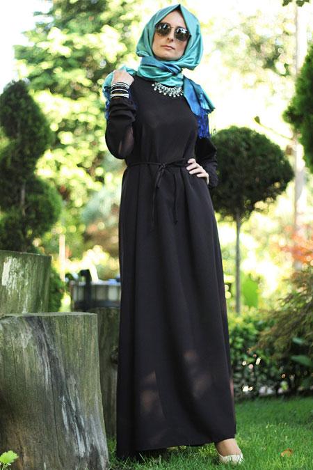 Melek Aydın Siyah Sade Elbise