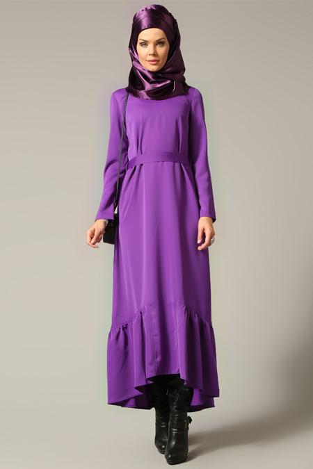 Refka Mor Eteği Fırfırlı Elbise