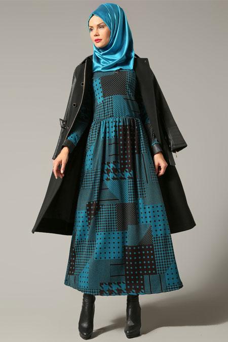 Refka Turkuaz Desenli Elbise