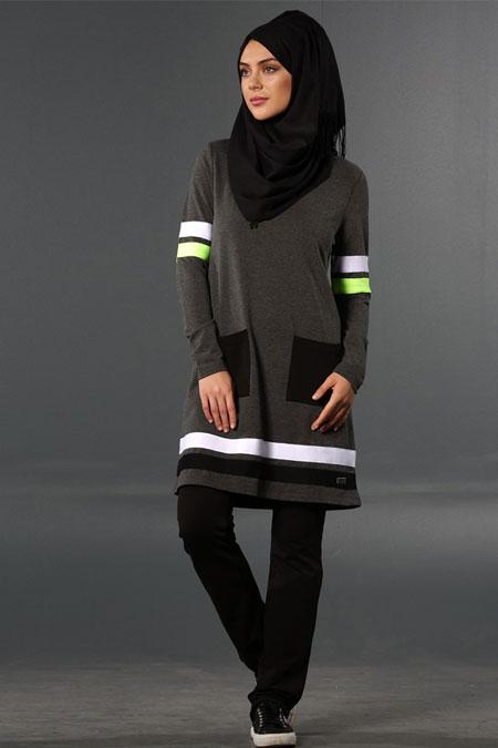 Mayovera Antrasit & Siyah Şeritli Dinamik Eşofman Takımı